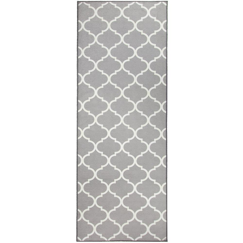 Ruggable Washable Moroccan Trellis Light Grey 2 5 Ft X 7 Stain Resistant Runner Rug