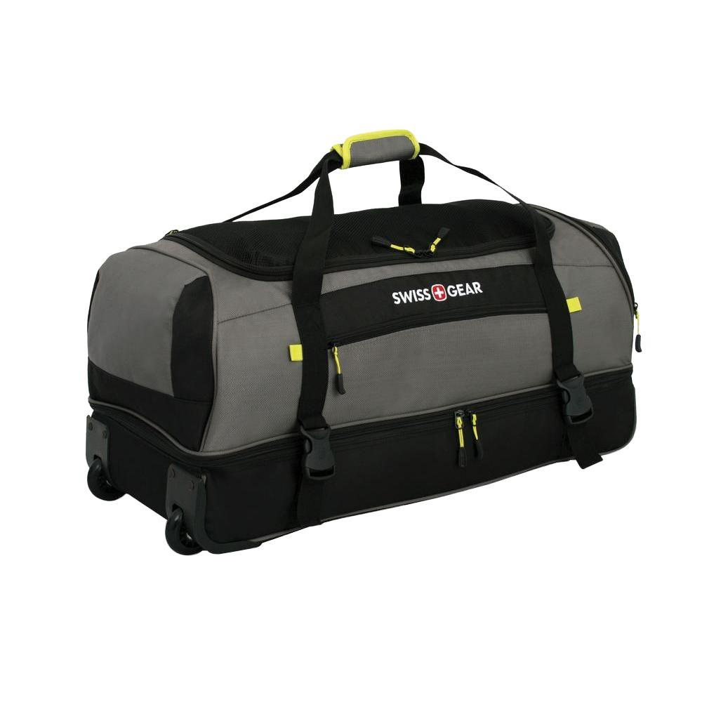 62b40ff7fc86 Gray and Black Rolling Drop Bottom Duffle Cement Suitcase-72614261 - The  Home Depot