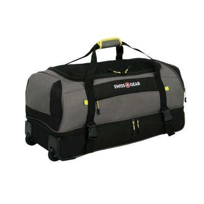 Sierre II 30 in. Gray and Black Rolling Drop Bottom Duffle Cement Suitcase
