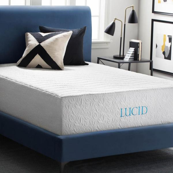 Lucid 16 in. Queen Plush 4-Layer Bamboo Charcoal  Latex Mattress