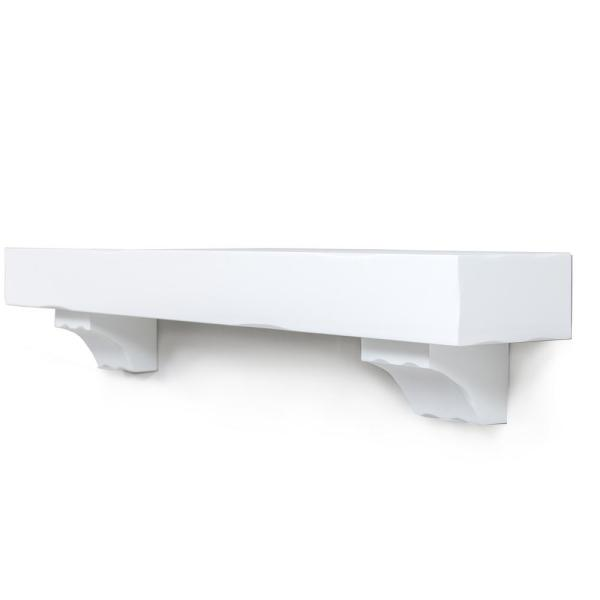 60 in. x 9 in. Solid Pine Rustic Wood Grain Mantel Shelf in White