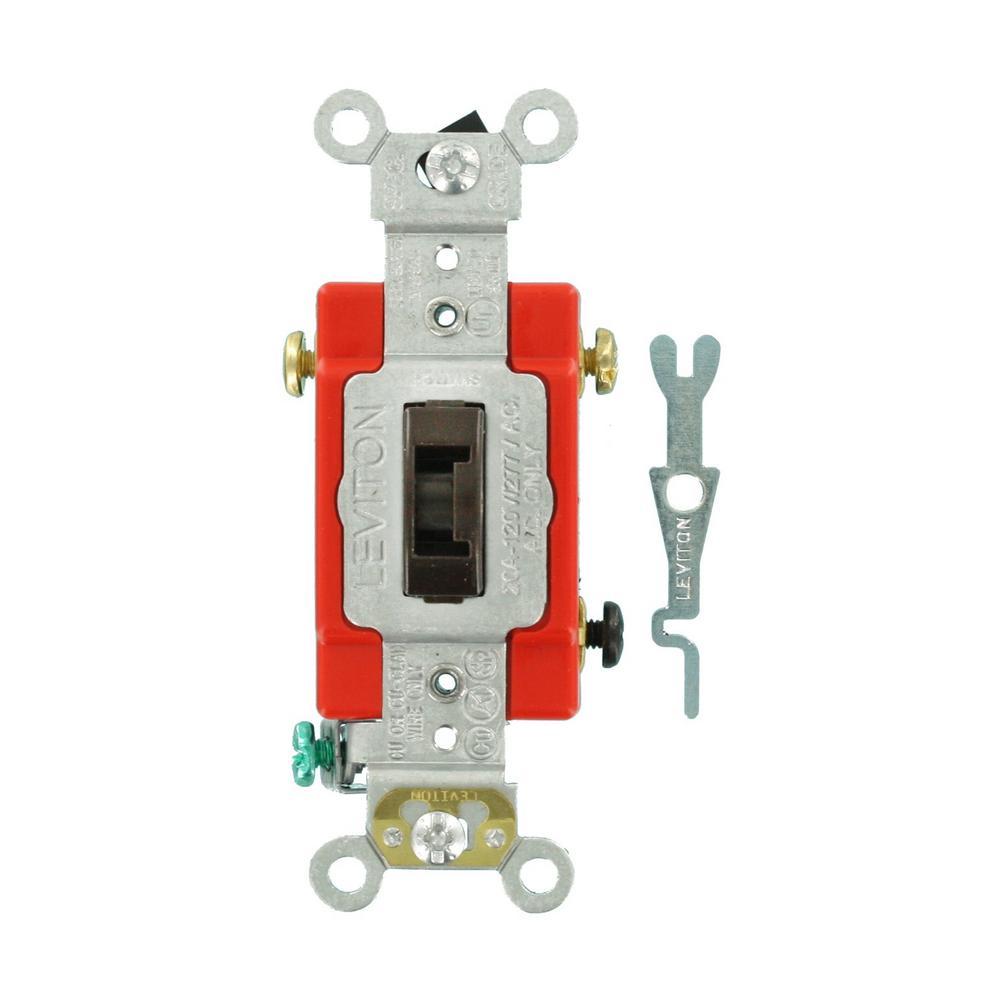 20 Amp Industrial Grade Heavy Duty 3-Way Locking Switch, Brown