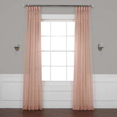Bashful Pink Solid Faux Linen Sheer Curtain - 50 in. W x 84 in. L