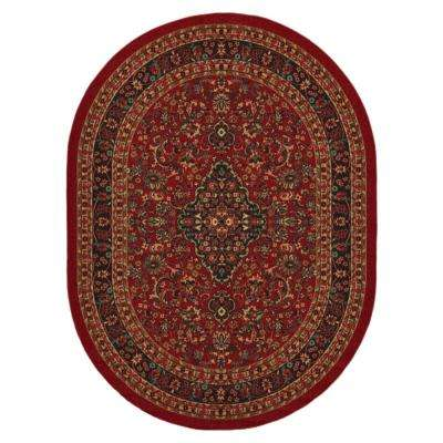 Ottohome Collection Persian Heriz Design Dark Red 5 ft. x 7 ft. Oval Area Rug