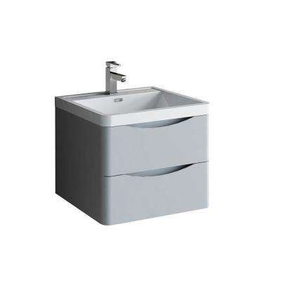 Tuscany 24 in. Modern Wall Hung Vanity in Glossy Gray with Vanity Top in White with White Basin