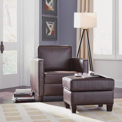 Bradley Brown Faux Leather Ottoman