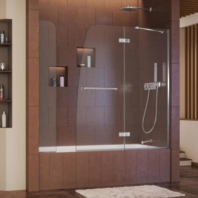 Aqua Ultra 57 to 60 in. x 58 in. Semi-Frameless Hinged Tub Door with Extender in Chrome