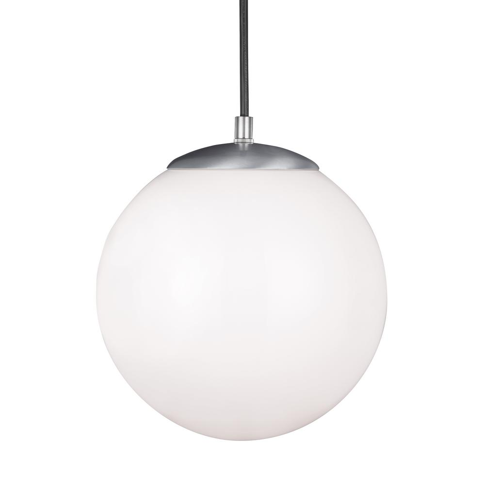 Sea Gull Lighting Hanging Globe 1 Light Satin Aluminum Pendant