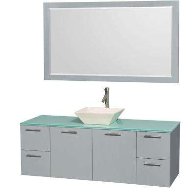 Amare 60 in. W x 22.25 in. D Vanity in Dove Gray with Glass Vanity Top in Green with Bone Basin and 58 in. Mirror