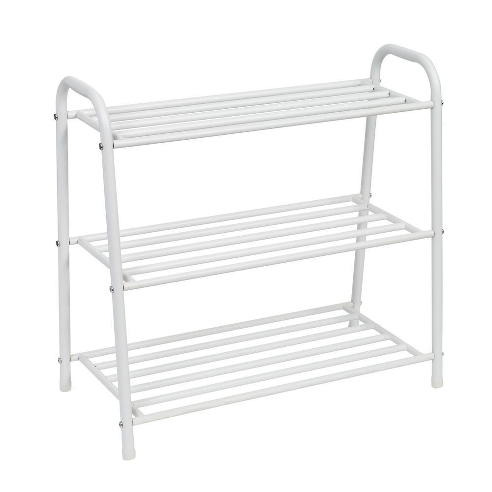 23.6 in. H x 12 in. W 12-Pair 3-Shelf Matte White Steel Freestanding Shoe Rack
