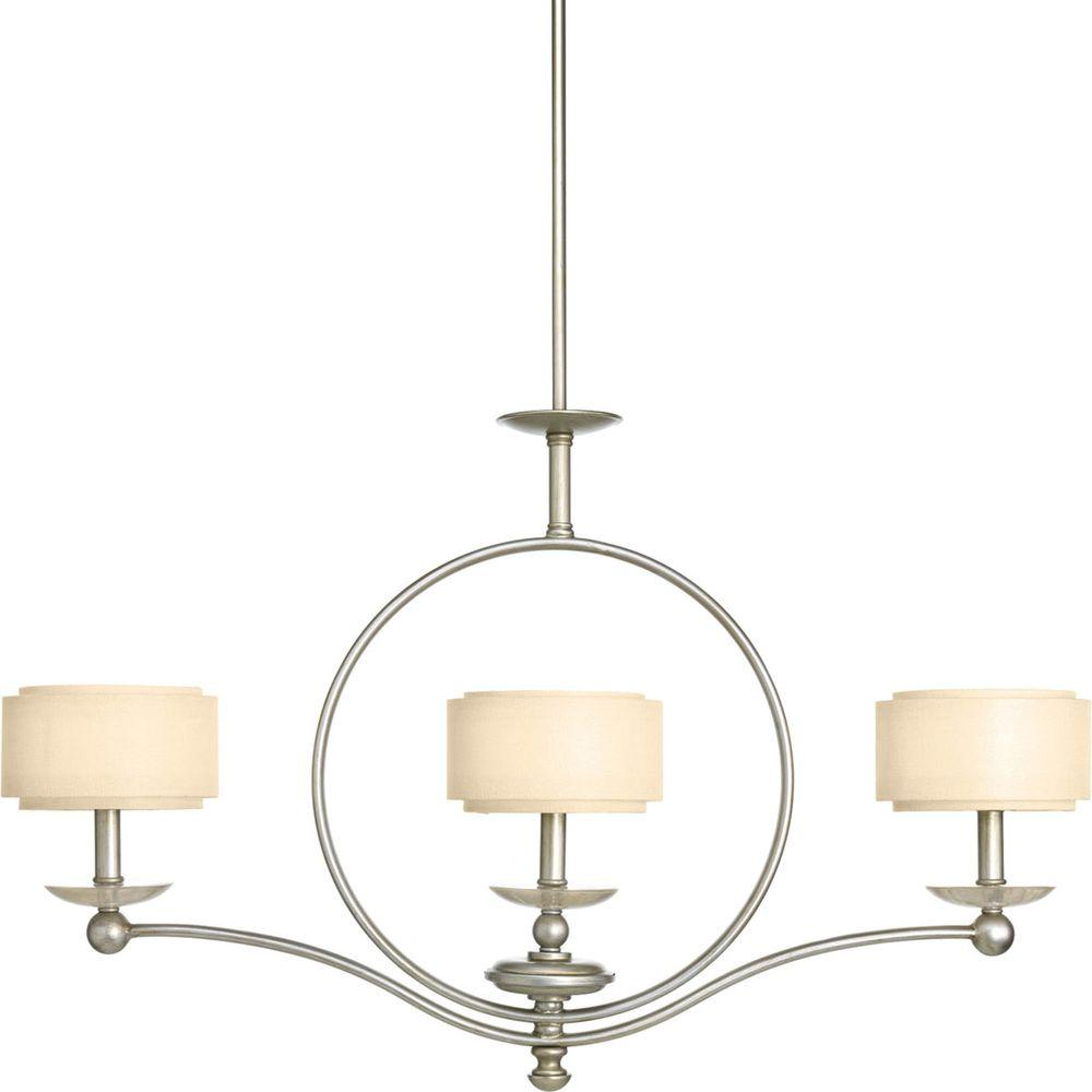 Progress Lighting Ashbury Collection 3-Light Silver Ridge Chandelier with Toasted Linen Shade