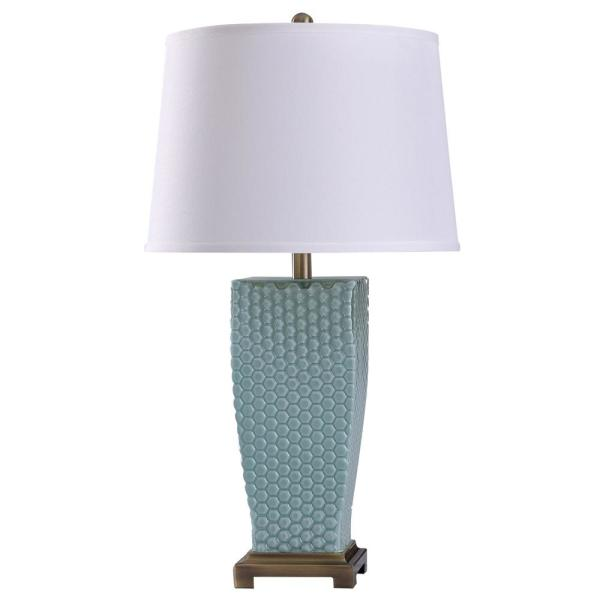 Sea 29.25 in. Brass Table Lamp with Blue Glass Shade