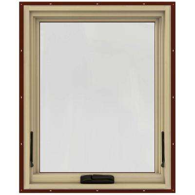24 in. x 30 in. W-2500 Series Red Painted Clad Wood Awning Window w/ Natural Interior and Screen