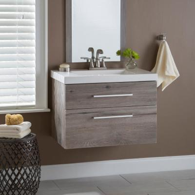 Larissa 31 in. W x 19 in. D Wall Hung Bath Vanity White Washed Oak with Cultured Marble Vanity Top in White with Sink