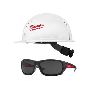 BOLT white type 1 class C front brim vented hard hat with Performance Safety Glasses with Tinted Lenses