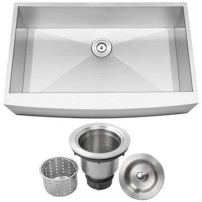 Bryce Zero Radius Farmhouse Apron Front 16-Gauge Stainless Steel 36 in. Single Basin Kitchen Sink with Basket Strainer