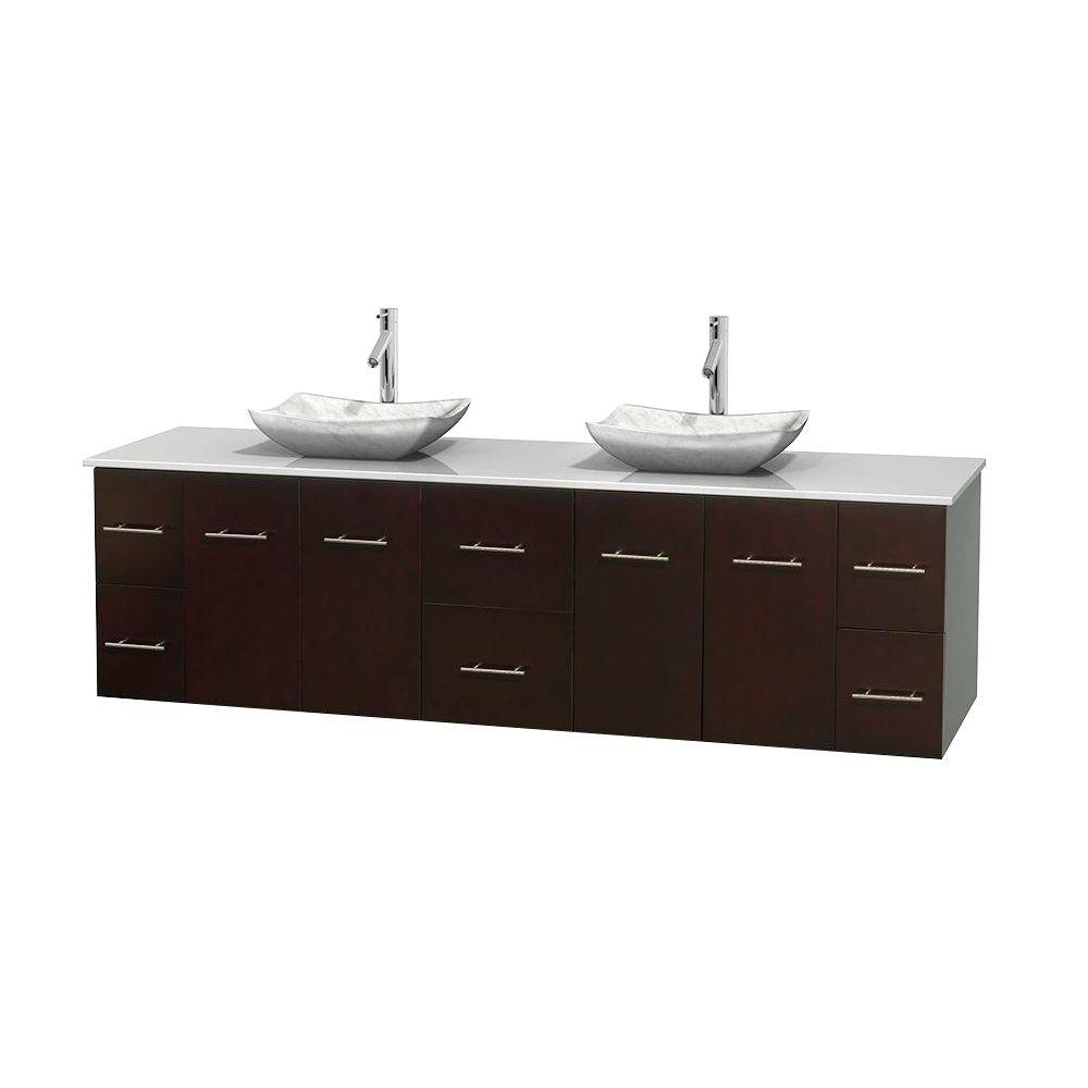 Double Bathroom Vanity Tops Solid Surface : Wyndham collection centra in double vanity espresso