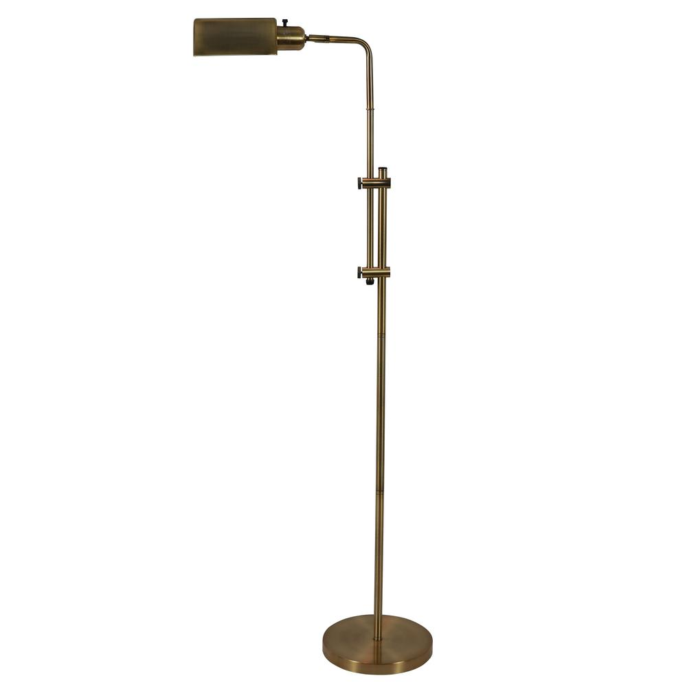 Decor Therapy Pharmacy 60.5 in. Adjustable Brass Floor Lamp with Shade