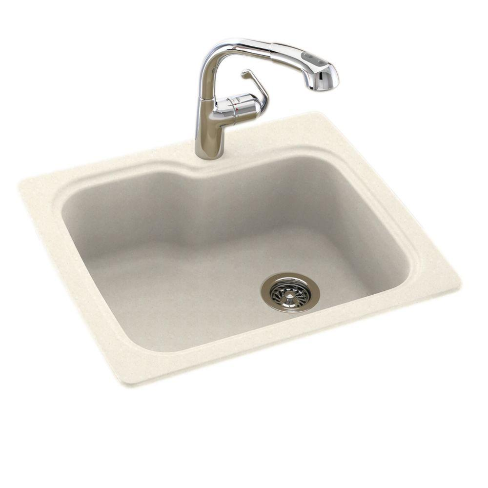 swan drop in undermount composite 25 in 1 hole single bowl kitchen sink in pebble. Black Bedroom Furniture Sets. Home Design Ideas