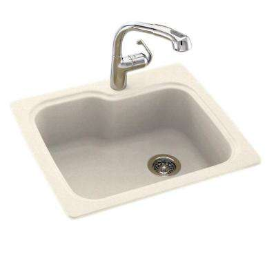 Drop-In/Undermount Solid Surface 25 in. 1-Hole Single Bowl Kitchen Sink in Pebble