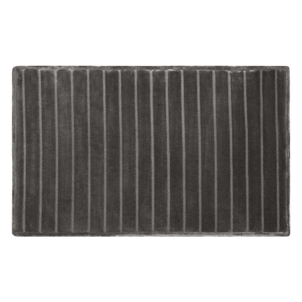 21 in. x 34 in. Velvet Charcoal-Infused Memory Foam Bath Mat in Dark Grey