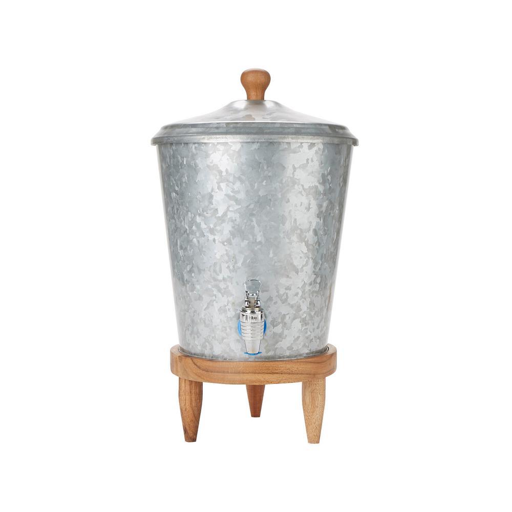 12 Qt. Double Wall Galvanized Beverage Dispenser, Cold Beverage Dispenser, Leak Free Spigot, Serving, Silver
