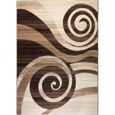 Ruby Whirlwind Brown 5 ft. x 7 ft. Modern Area Rug