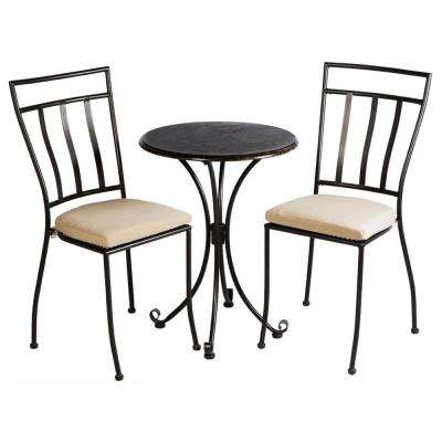 3-Piece Ponza Metal Bistro Set With 24 in. Round Granite Top Bistro Table and 2 Bistro Chairs with Cushions