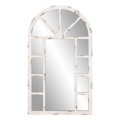 Medium Rectangle Distressed White Hooks Mirror (40 in. H x 23.75 in. W)
