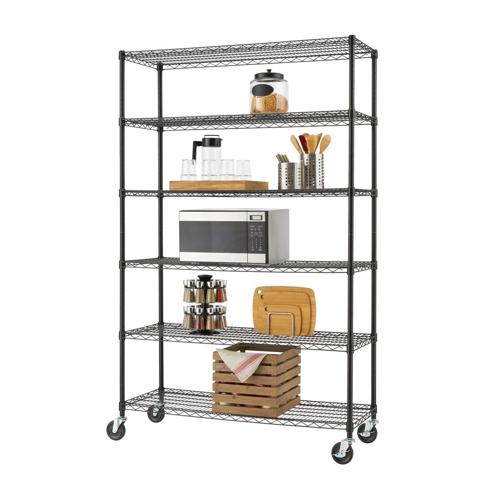 TRINITY Black 6-Tier Rolling Steel Wire Shelving Unit (48 in. W x 77 in. H x 18 in. D)