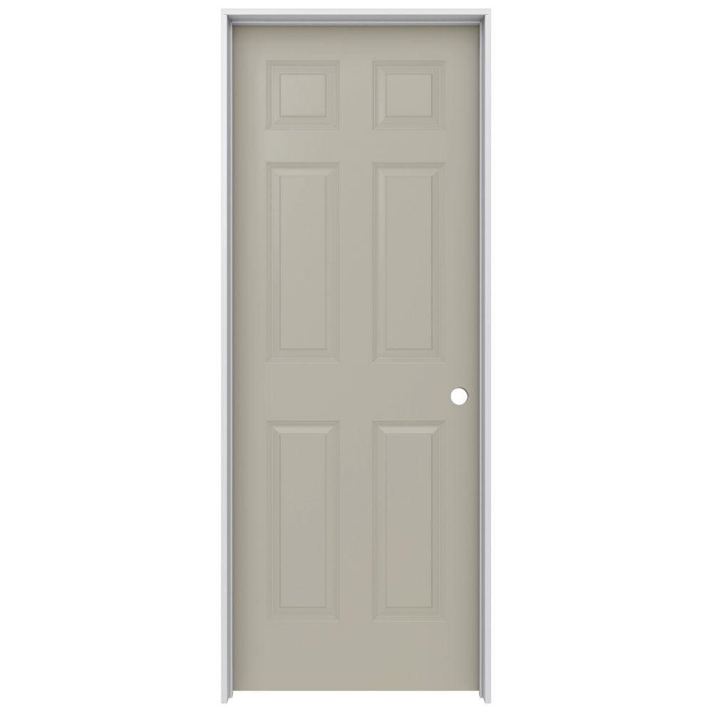 JELD-WEN 30 in. x 80 in. Colonist Desert Sand Left-Hand Smooth Solid Core Molded Composite MDF Single Prehung Interior Door