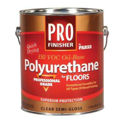 1 gal. Clear Semi-Gloss 350 VOC Oil-Based Interior Polyurethane for Floors (Case of 4)