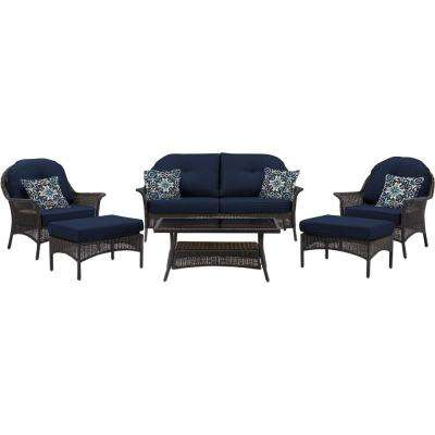 Saros 6-Piece Steel Outdoor Conversation Set with Navy Blue Cushions