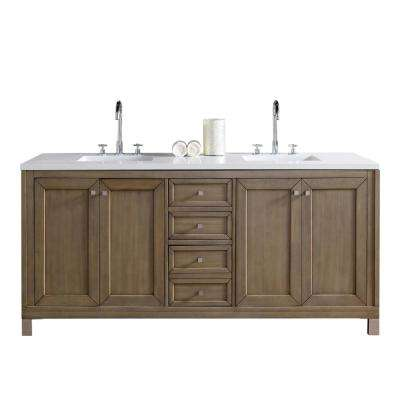 Chicago 72 in. W Double Vanity in Whitewashed Walnut with Quartz Vanity Top in White with White Basin