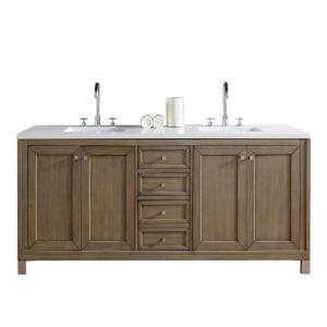 James Martin Signature Vanities Chicago 72 inch W Double Vanity in Whitewashed Walnut with Quartz Vanity Top in White... by James Martin Signature Vanities