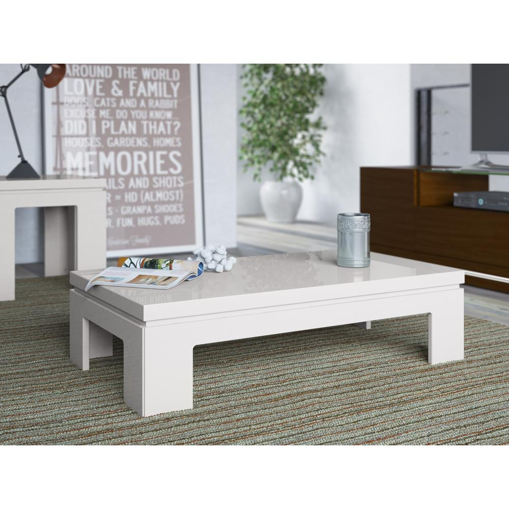 Manhattan Comfort Bridge Off White Coffee Table 84654 The Home Depot