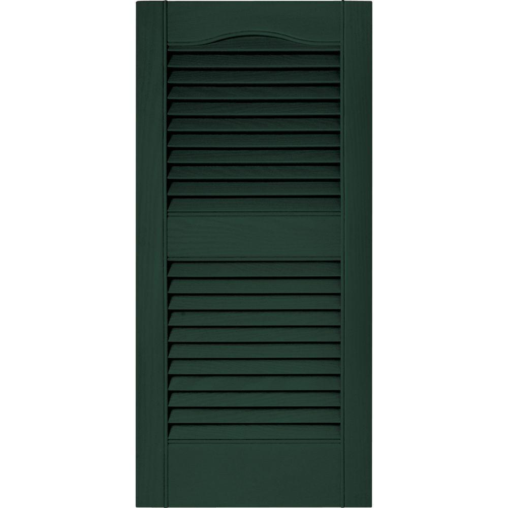 Builders Edge 15 in. x 31 in. Louvered Vinyl Exterior Shutters Pair in #122 Midnight Green