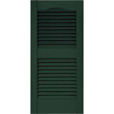 15 in. x 31 in. Louvered Vinyl Exterior Shutters Pair in #122 Midnight Green