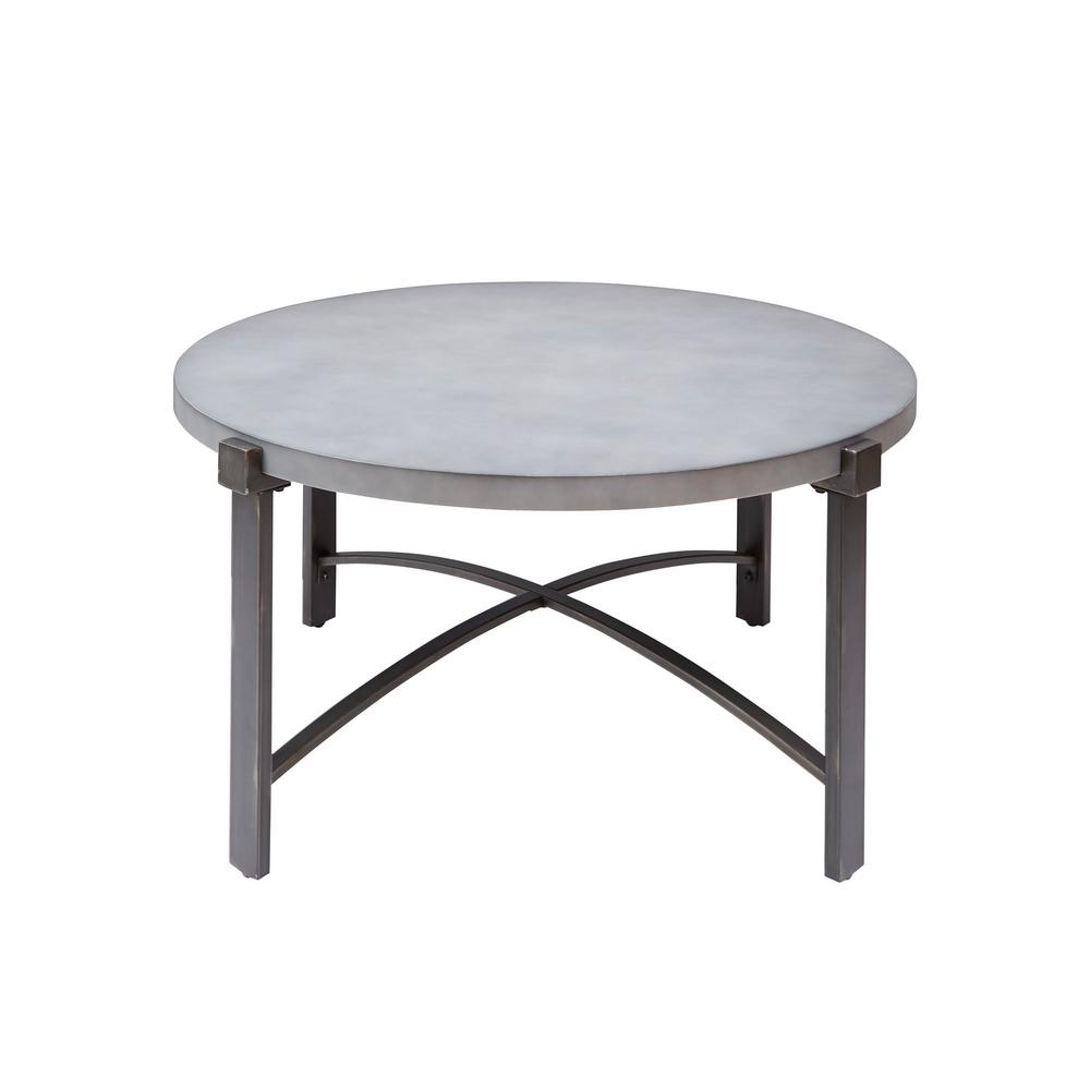 Silverwood Lewis Gray Round Concrete Top Coffee Table Cpft1276cofrcc
