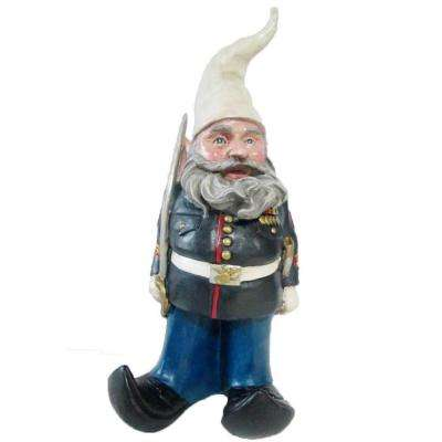 14 in. H Ooh Rah Marine Gnome Military Soldier Dress Blues with Sword Home and Garden Gnome Statue