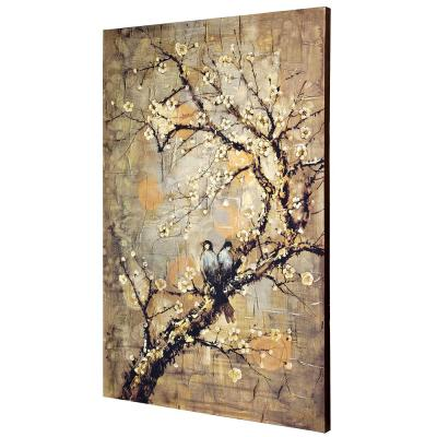 Hand-Painted Birds On Branch Multicolored Canvas Wall Art
