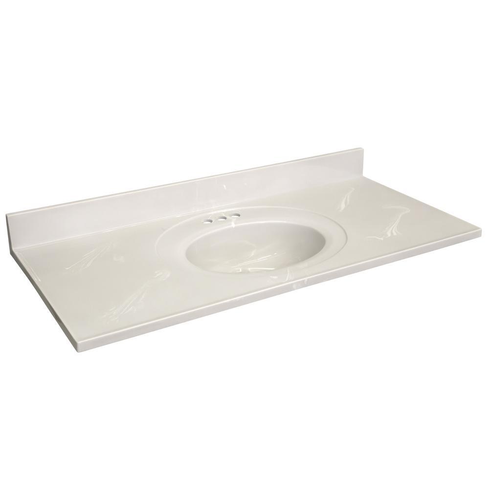 49 in. W x 22 in. D Cultured Marble Vanity Top in White on White with White on White Basin with 4 in. Faucet Centerset