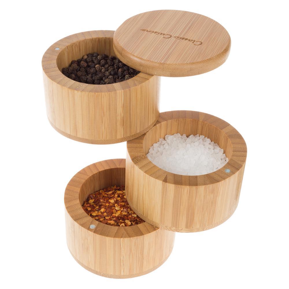 Bamboo 3-Tier Multi Compartment Spice Storage Container