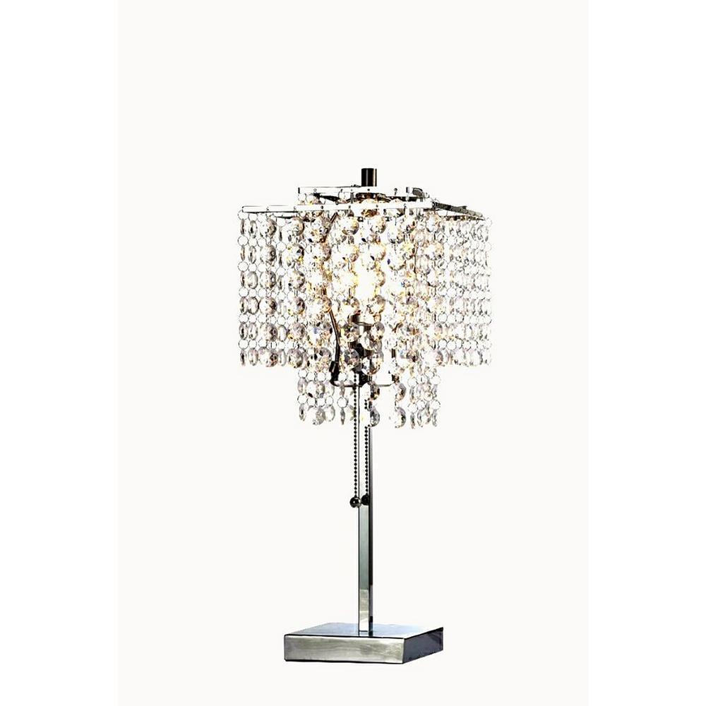 20.5 in. Glam Deco Silver 2-Tier Square Table Lamp