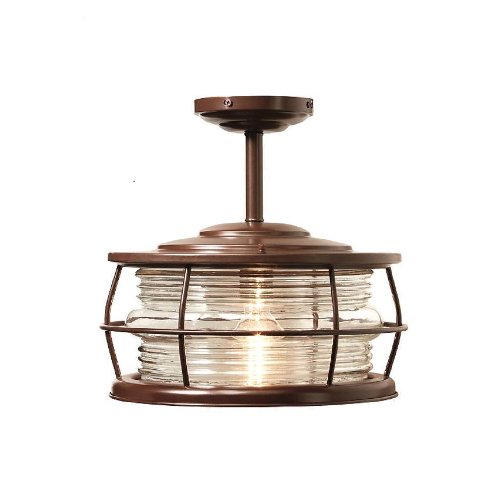 Harbor 12 in. 1-Light Copper Outdoor Convertible Hanging Flushmount Light