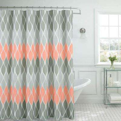 Clarisse Faux Linen 70 in. x 72 in. Blush Textured Shower Curtain with 12-Metal Rings