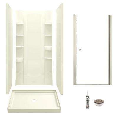 STORE+ 34 in. x 36 in. x 75.75 in. Center Drain Alcove Shower Kit in Biscuit and Brushed Nickel