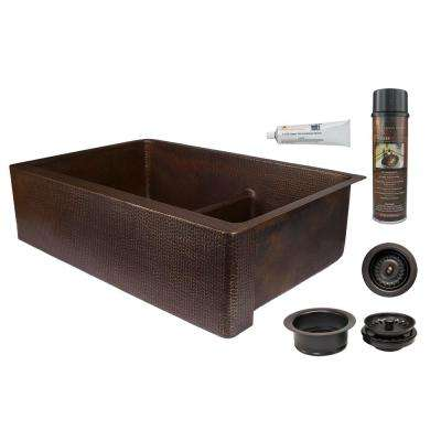 Dual Mount Copper 33 in. 0-Hole Double Bowl 60/40 Kitchen Apron Sink with Short Divide and Drain in Oil Rubbed Bronze
