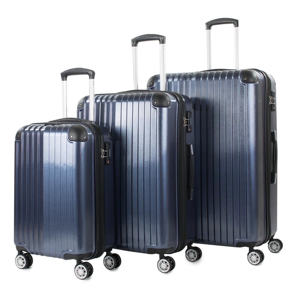 Melrose Blue 3-Piece Polycarbonate Expandable Spinner Luggage with TSA Lock and