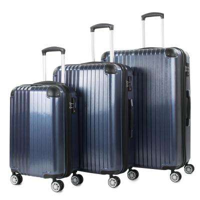 Melrose Blue 3-Piece Polycarbonate Expandable Spinner Luggage with TSA Lock and Corner Guards